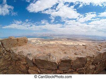 Desert landscape near the Dead Sea seen from Masada fortress