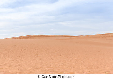 Desert Landscape No People Red Sand Dunes Blue Cloudy Sky...