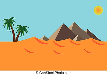 Desert landscape of the pyramid in flat design