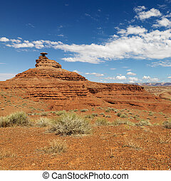 Scenic remote desert landscape with mesa land formation.