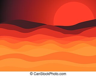 Desert landscape, sunset with a red sun in the desert. Vector illustration