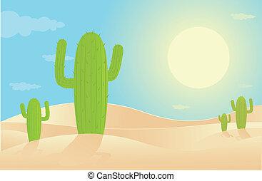 Desert Landscape - Vector illustration of desert.