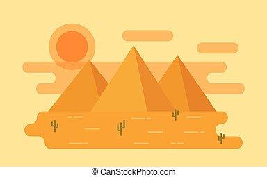 Desert landscape. Vector illustration in flat design.