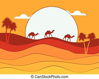 Desert landscape with a caravan of camels in the background of the sun. Egypt. Paper style. Vector illustration