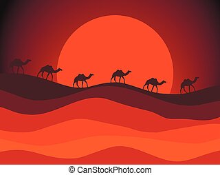 Desert landscape with a caravan of camels in the background of the sun. Vector illustration