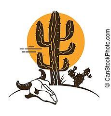 Desert landscape with Cactuses and cow skull. Arizona desert...