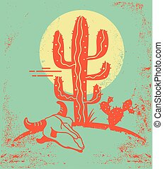 Desert landscape with Cactuses and cow skull. Vintage ...