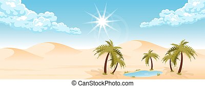 Desert landscape with oasis and palms. Travel and tourism....