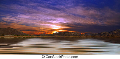 Desert Landscape With Water - Desert Landscape Panoramic...