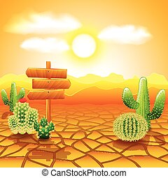 Desert landscape with wooden sign and cactuses vector...