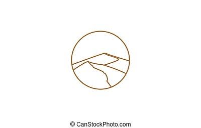 Desert line art outline minimalist logo vector  illustration design