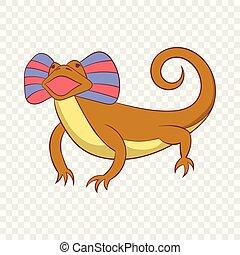 Desert lizard icon, cartoon style