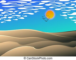 Desert midday landscap - desert midday landscape , vector...