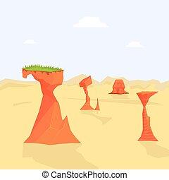 Desert Natural Landscape Background with Sandy Surface and Rocks Vector Illustration