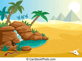 Cartoon illustration of small oasis in the Sahara desert. A4 proportions. No transparency used. Basic (linear) gradients.