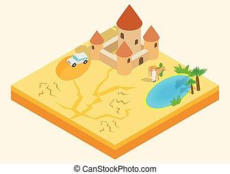 Desert oasis clip art, isometric style
