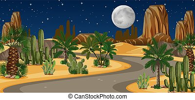 Desert oasis with long road landscape at night scene