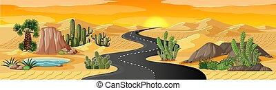 Desert oasis with long road landscape scene