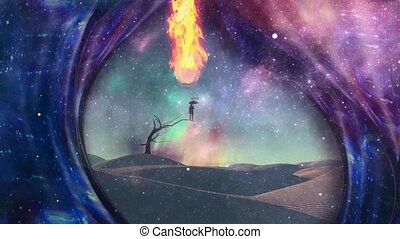 Desert of dreams. Warped space and burning man
