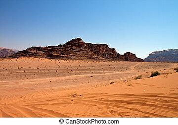 Desert of Wadi Rum - View of the desert of Wadi Rum in ...