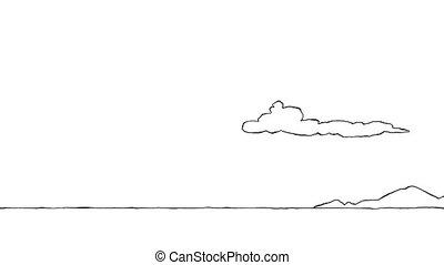 Desert - Panorama cartoon desert, loop, animation HD