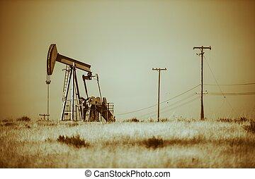 Desert Pumpjack Oil Industry - Iron Pumpjack on California...