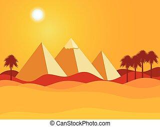 desert., pyramids., ベクトル, エジプト人