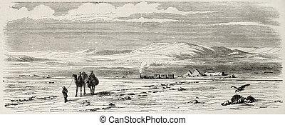 Desert railway - Antique illustration of a railway station...