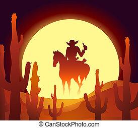 desert rider - vector illustration of rider in mexican...