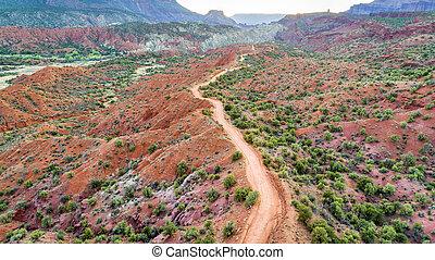 desert road - aerial view