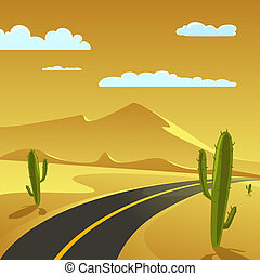 Desert Road - Desert Landscape with Road, cartoon vector...
