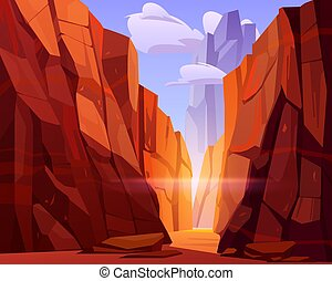 Desert road in canyon with red mountains. Vector cartoon ...