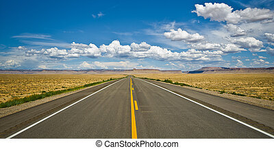 Desert road near the Four Corners area in the USA.