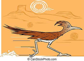 Desert Roadrunner - A bird racing through the dry southwest