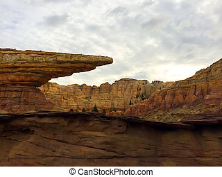 Very interesting rock formations in the desert of Anaheim California.