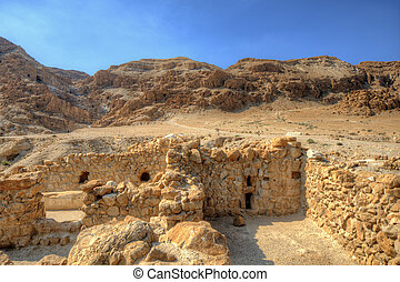 Desert Ruins - Ruins at Qumran, site of the discovery of the...