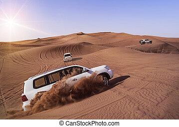 Desert Safari with SUVs - Desert Safari SUVs bashing through...