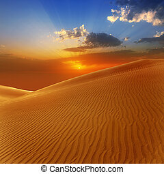 Desert sand dunes in Maspalomas sunset Gran Canaria at Canary islands