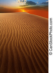 Desert sand dunes in Maspalomas sunset Gran Canaria at Canary islands