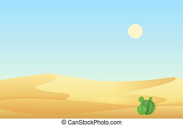 Desert sand dunes with cactus landscape vector illustration.