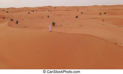 Desert sand dunes with man walking. - Desert sand dunes with...
