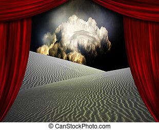 Desert Sands seen through opening in curtains - Desert sands...