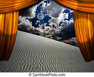 Desert Sands seen through opening in curtains
