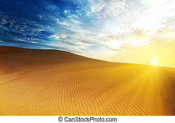 Desert - Sandy desert at sunrise time. Vietnam. Mui ne