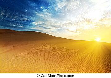 Sandy desert at sunrise time. Vietnam. Mui ne