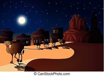 Desert Scene at Night with Camels