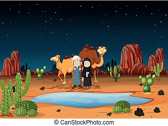 Desert scene with arab people and camels