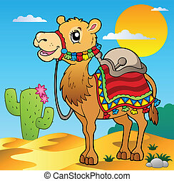 Desert scene with camel - vector illustration.
