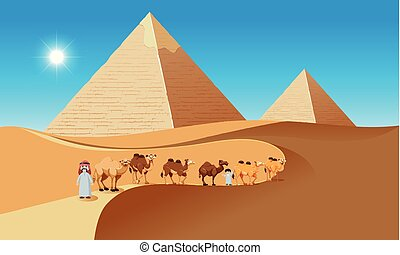 Desert scene with camels and people