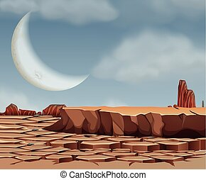 Desert scene with cresent moon illustration